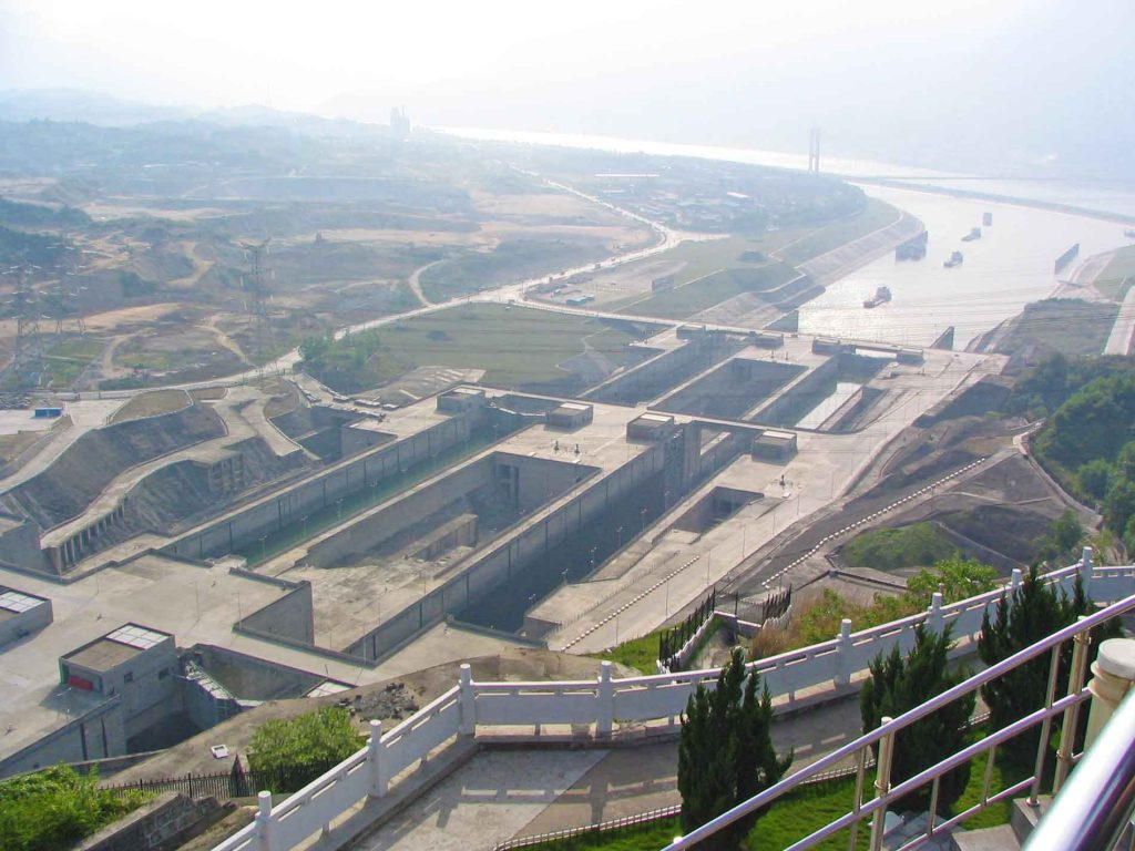 Two Sets of Five Locks at the Three Gorges Dam