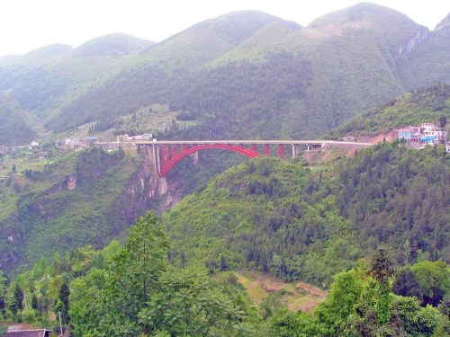 Bridge Over the Valley on the Road From Yitang To Enshi