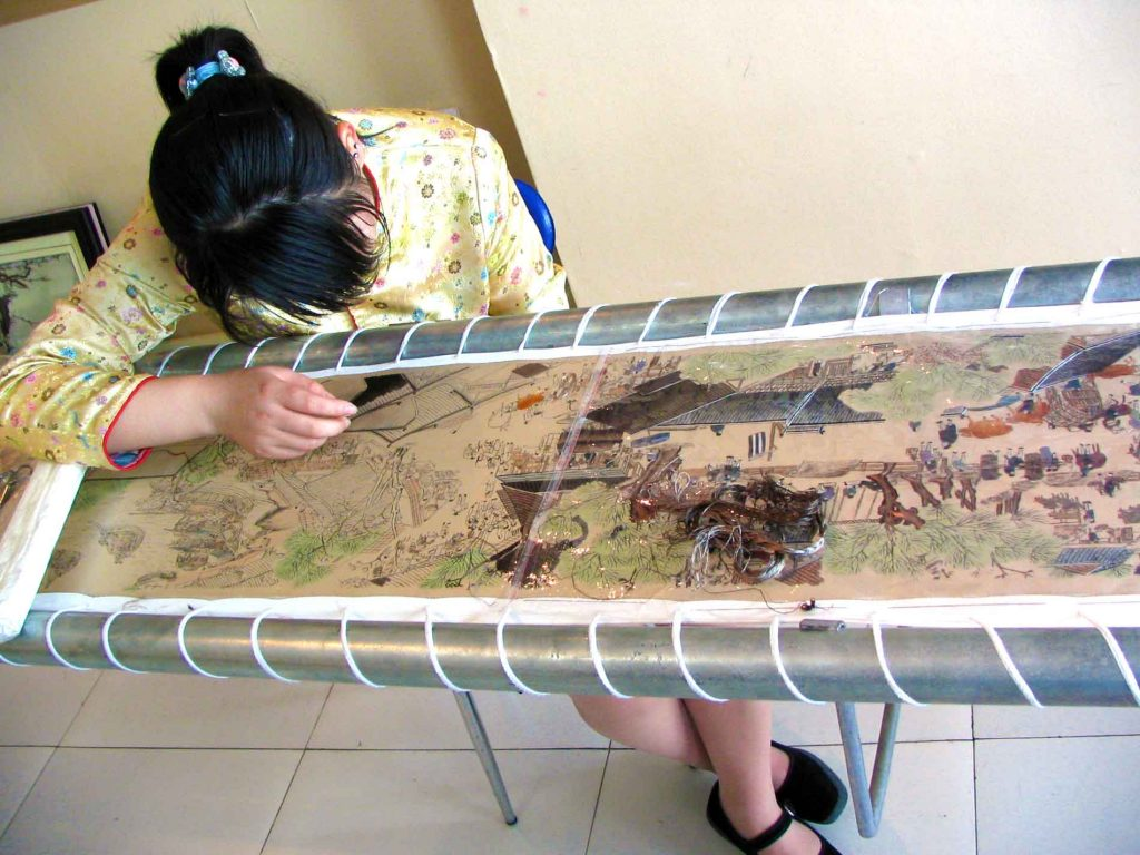 Woman Doing Silk Embroidery