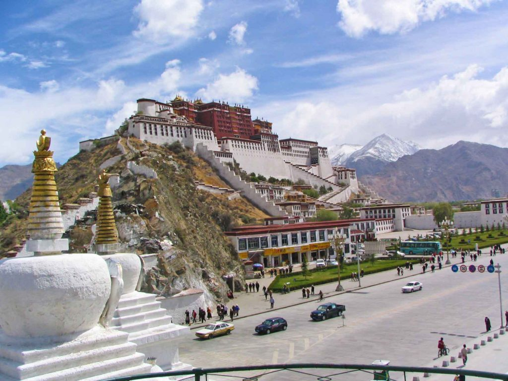 A Side View Of The Potala Palace In Lhasa