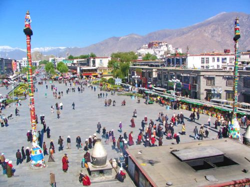 Barkhor Square Seen From The Roof Of The Jokham Temple in Lhasa