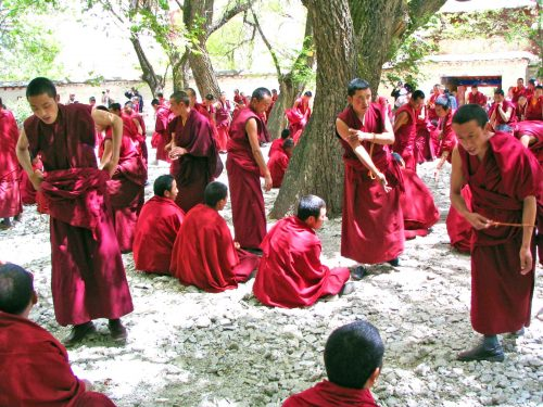 Monks Teaching The Scriptures At The Sera Monastry In Lhasa