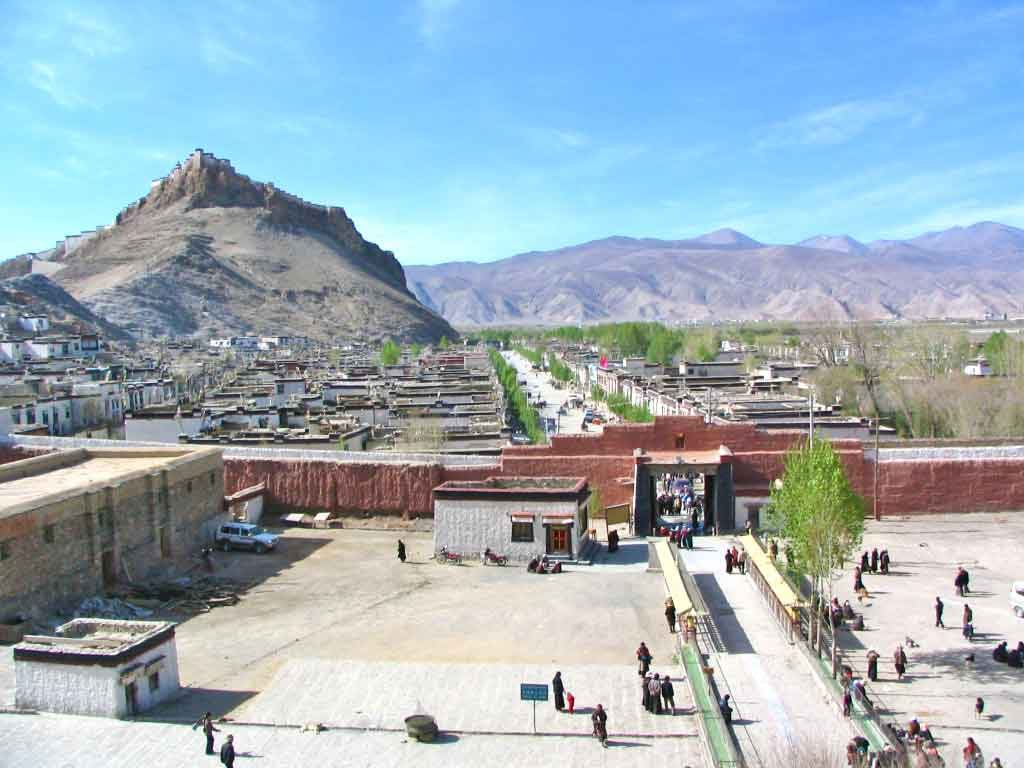 Looking Towards The Fort At Gyantse From The Baiju Temple
