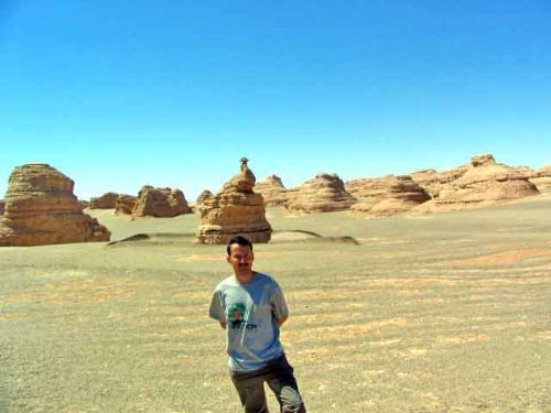 My Guide, Sher, At The Peacock Rock In The Gobi Desert