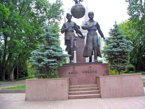 The Statue To Two Local War Heroes Replacing The Statue of Lenin
