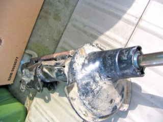 The Damaged Shock Absorber With The Steel Bar Welded To Allow Onward travel