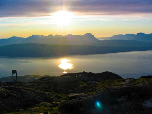 The Midnight Sun On The Fjord Seen From Narvik Mountain at 11pm