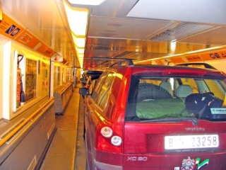 The Car About To Disembark From The Channel Tunnel Train Upon My Arrival Home in England